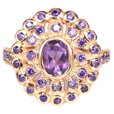 Natural Aaa Purple Amethyst Oval & Purple Cz Sterling 925 Silver Ring Size 7