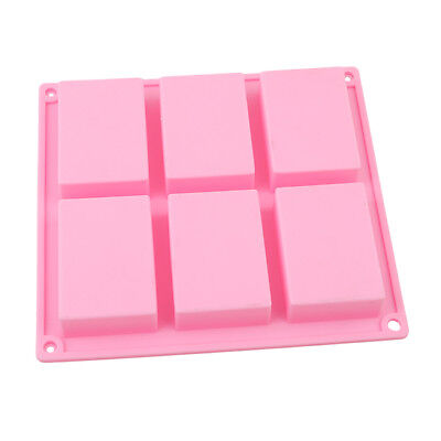 6 Hole Rectangle Silicone Soap Mold Cake Ice Mould Tray Homemade Craft FM