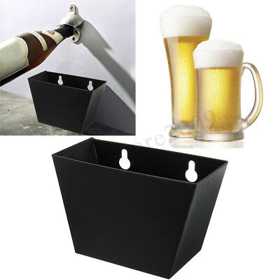 Wall Mount Bar Beer Bottle Opener Cap Stainless Steel Catcher Box + Screws