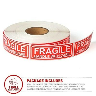 """Fragile - 1""""x3"""" Handle with Care Red Shipping Stickers, 1000 Labels Per Roll"""
