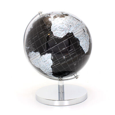 Silver & Black World Globe Rotating Atlas On Base Stand - Small Or Medium Size