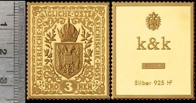 Austria: Imperial Coat of Arms Proof Gilt Sterling Silver 3 Korona Stamp