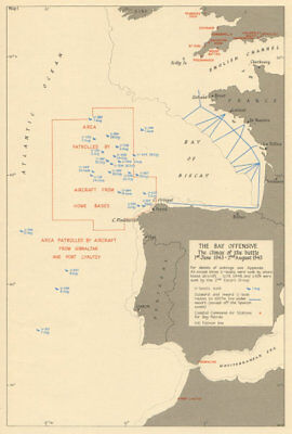 Bay of Biscay. U-Boat sinkings. Battle of the Atlantic June-July 1943 1954 map