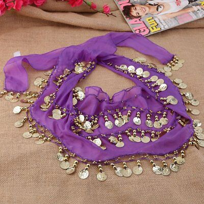 3 Rows 128 Gold Coins Belly Dance Costume Hip Scarf Skirt Belt Wrap Waist NC