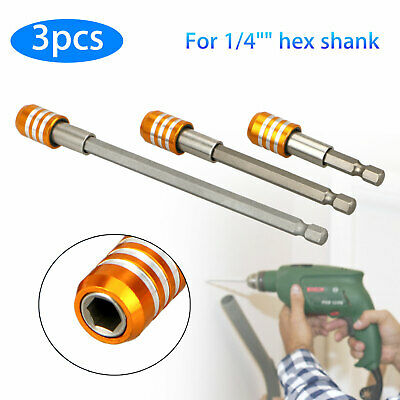 "3xMagnetic Screwdriver Quick Release Extension Holder Bit Set for 1/4"" Hex Shan"