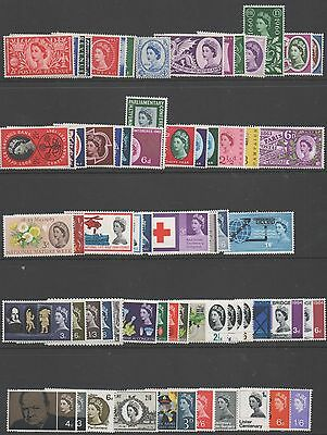 GB QE2 1953 - 1970 complete commemoratives 197 + 88 phosphor issues MNH stamps