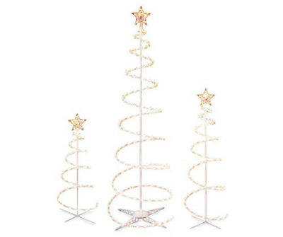 Set of 3 Lighted Spiral -Christmas- Trees - 3 Ft 4 Ft and 6 Ft - Winter Wonder