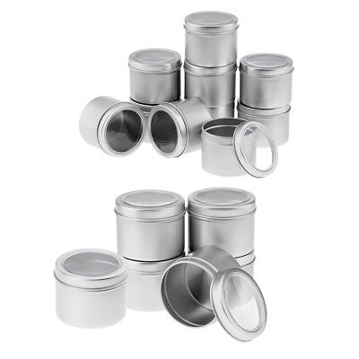 11x Metal Screw Lid Storage Box Aluminum Tins Gel Jars Cream Container Round