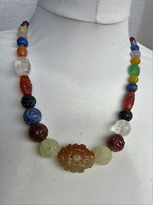 Gorgeous Chinese Carved Gemstone Shou Bead Necklace, Carnelian, Jade, Lapis. etc