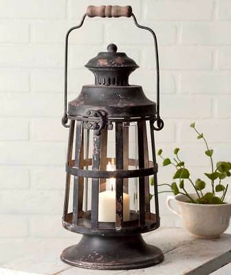 Country new Curtis Island distressed black tin Candle lantern