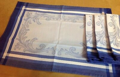 Four Placemats, Cotton, Blue Stripe And Scroll Design, Vivid Colors, By Fateba