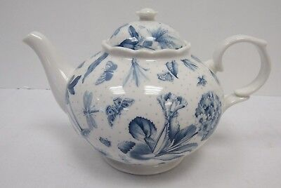 Portmeirion Botanic Blue Floral and Butterflies Teapot - YEO P25