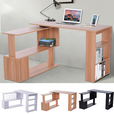 360° Rotating Combo Writing Table Office Hollow Core Hobby Desk w/ Storage Shelf