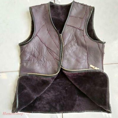Vintage Men Real Sheepskin Thick Warm Sleeveless Wool Fur Lined Casual New Hot