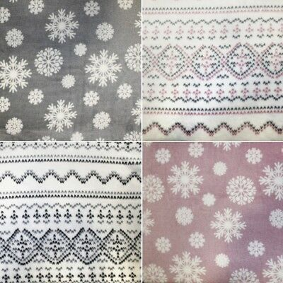 Double Sided Cuddle Fleece Snowflakes & Scandinavian Print Christmas Xmas