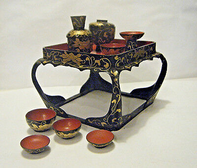 Antique Miniature Japanese Doll House Table & Tea Bowls Set Hand Painted Lacquer