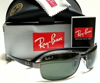 59bc369296 Authentic RAY-BAN RB3379 004 58 Gunmetal Green Polarized Lens 64mm  Sunglasses