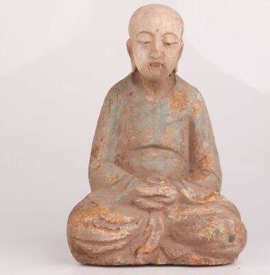Ancient Big chinese old Wood Hand Carved blessing Buddha Statue Collectable deco