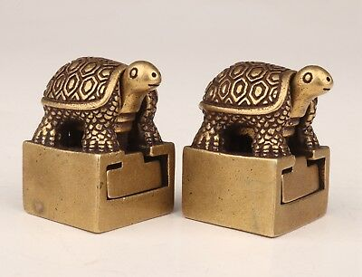 2 Valuable Chinese Bronze Statue Seals Figurine Old Tortoise Christmas Gift