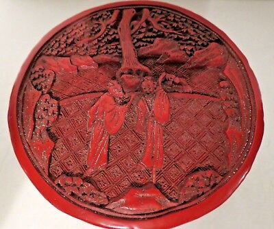 """Deep Carved Red Chinese Cinnabar Lacquer Round Covered Box Figures Landscape 4"""""""