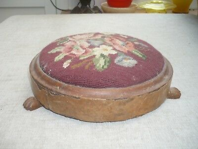 Antique quality tapestry circular footstool wooden  paw feet Decorators Piece