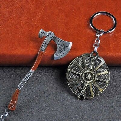 Game GOD OF WAR 4 Kratos Axe Guardian Shield Alloy Key Chains Keychain