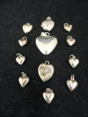 Antique / Vintage Puffy Hearts Sterling Silver Charms Lot Of 12