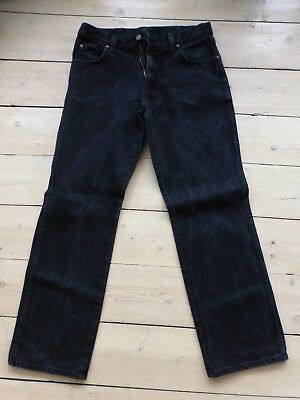 Wrangler Black Denim Jeans Regular Fit Size 34 Inch Waist 32 Inch Leg Excellent