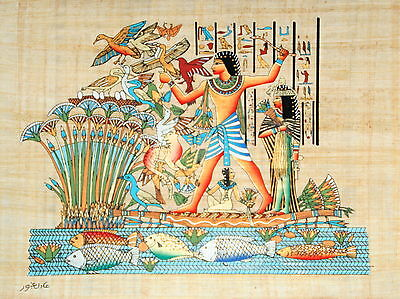 """Egyptian Papyrus - Hand Made 12"""" x 16"""" - Ancient Art - Lord Menna Hunting Birds"""