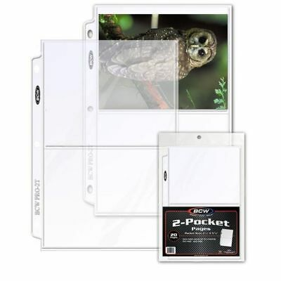 20 - 2 Pocket 5x7 Photo Postcard Page Sheet Protector BCW Pro2T - 3 ring binders