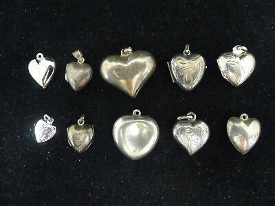 Antique Lot Of 10 Sterling Silver Puffy Heart