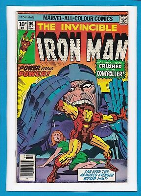 """Invincible Iron Man #90_September 1976_Very Good_""""crushed By The Controller""""_Uk!"""