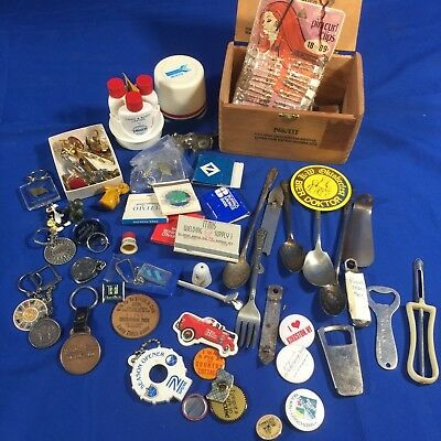 Vintage Junk Drawer Lot Matchbooks Keychains Trinkets Cuff Links & More