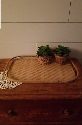 Vintage Tiki Bamboo Rattan Wicker Food Tray BRAND NEW OLD