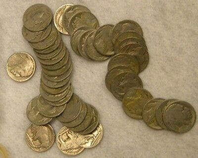 Full Roll Buffalo Indian Head Nickels 40 US Coins Mixed Dates BN128-40-200
