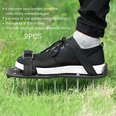 2pcs/set Epoxy Aerating Spikes Shoes Garden Lawn Shoe with 3 Adjustable Straps N