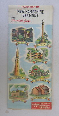 1950 New Hampshire Vermont   road map Tydol  Flying A  oil  gas Historical guide