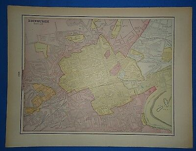 Vintage 1891 EDINBURGH, SCOTLAND MAP ~ Old Antique Original Atlas Map 120718