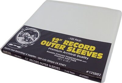 "(100) 12SB02 12"" SUPER CLEAR 2mil Record Outer Sleeves Vinyl Bags BOPP Flush Cut"
