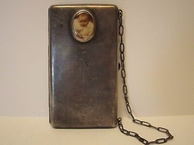 Vintage Sterling Silver Antique Change Frame  Card Holder Purse Wallet Old 925