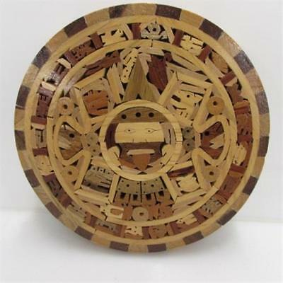"""Handcrafted Wood 8"""" AZTEC CALENDAR Sun Stone Replica Wall Plaque Made in Mexico"""