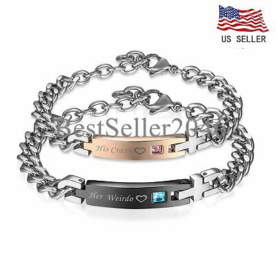 His&Hers Matching Set Stainless Steel His Crazy Her Weirdo Couple Bracelet 2pcs