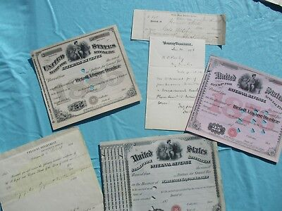 1860-80's (6) Internal Revenue TAXATION,Signed letter,Treasury documents lot!