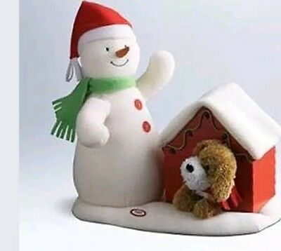 2011 Hallmark Jingle Pals Deck The Halls Duo Singing Snowman Dog Doghouse Plush