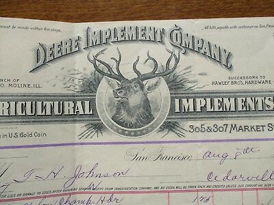 1894 GRAPHIC John Deere Moline,Illinois,(Gold Coin payment)FRAMEABLE Letterhead!