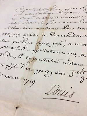 King Louis Xv Autograph – Military Assignment Of The Captain Of Militia  - 1719