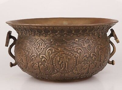 Rare Collection Relievo Relief Patterns Old Bronze Jar Daming Xuande Period