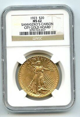 1923 $20 Gold Saint Gaudens Double Eagle (MS 62) NGC SAMASZKO'S GOLD HOARD! READ