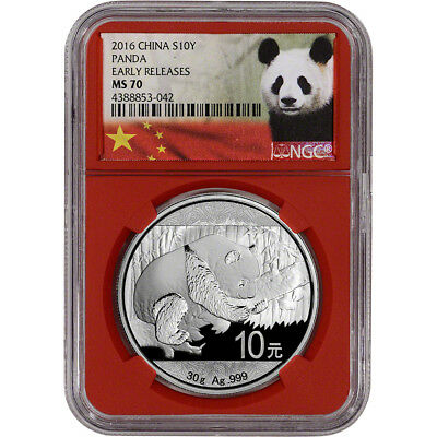 2016 China Silver Panda (30 g) 10 Yuan - NGC MS70 Early Releases Red Core Holder