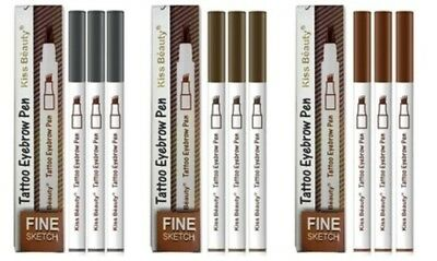 NEW Tattoo Eyebrow Pen Waterproof Ink Gel - 3 Pack 3 Pack Chestnut